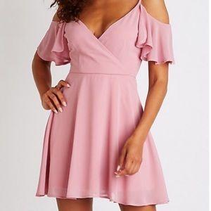 Blush/mauve cold shoulder wrap skater dress